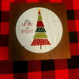 wooden square holiday decor